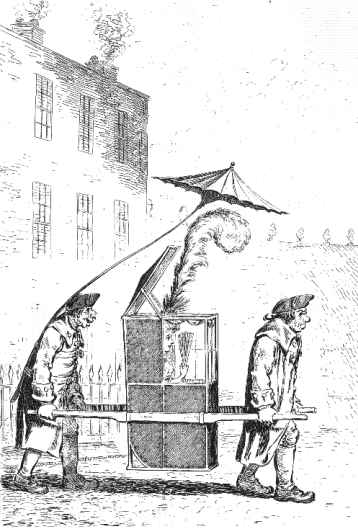 A Modern Belle going to the Rooms at Bath, by James Gillray, showing a public-hire sedan chair